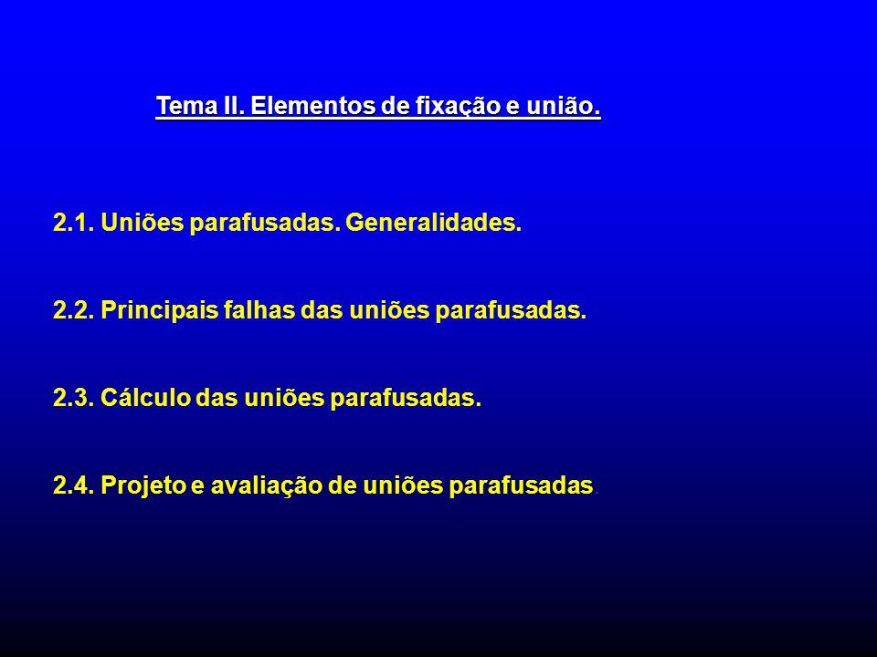 Tema II. Elementos de fixação e união. 2.1. Uniões parafusadas. Generalidades. 2.2. Principais falhas das uniões parafusadas. 2.3. Cálculo das uniões