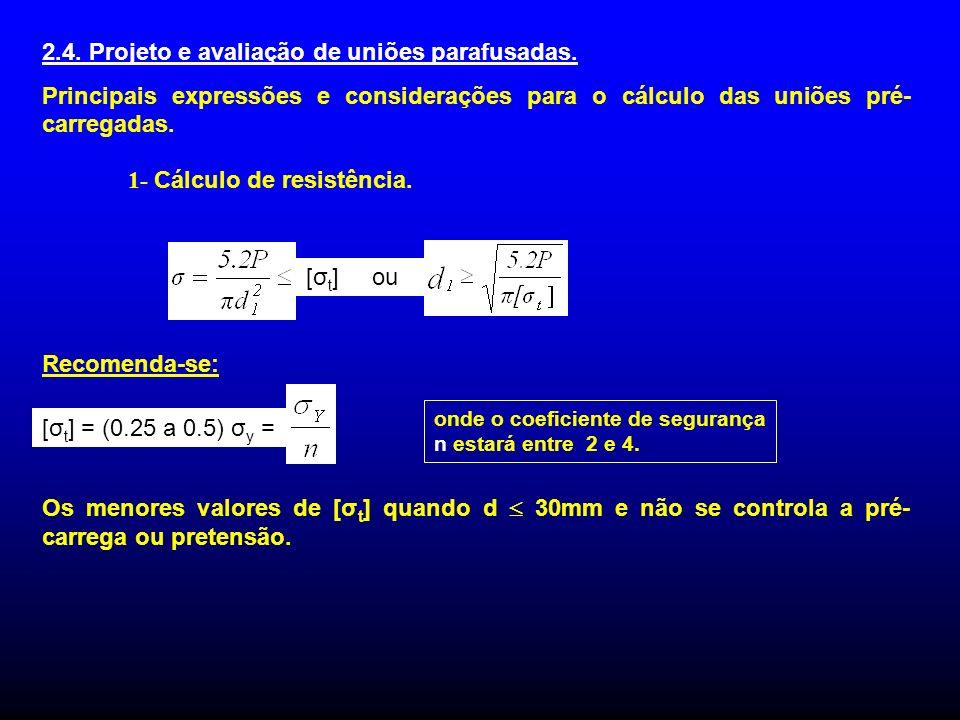 2.4. Projeto e avaliação de uniões parafusadas. Principais expressões e considerações para o cálculo das uniões pré- carregadas. 1- Cálculo de resistê