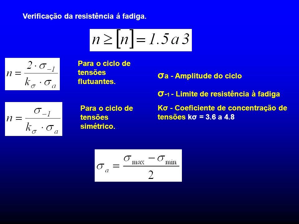 Verificação da resistência á fadiga. Para o ciclo de tensões flutuantes. Para o ciclo de tensões simétrico. σ a - Amplitude do ciclo σ - 1 - Limite de