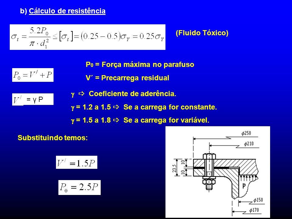b) Cálculo de resistência (Fluido Tóxico) = γ P Coeficiente de aderência. = 1.2 a 1.5 Se a carrega for constante. = 1.5 a 1.8 Se a carrega for variáve