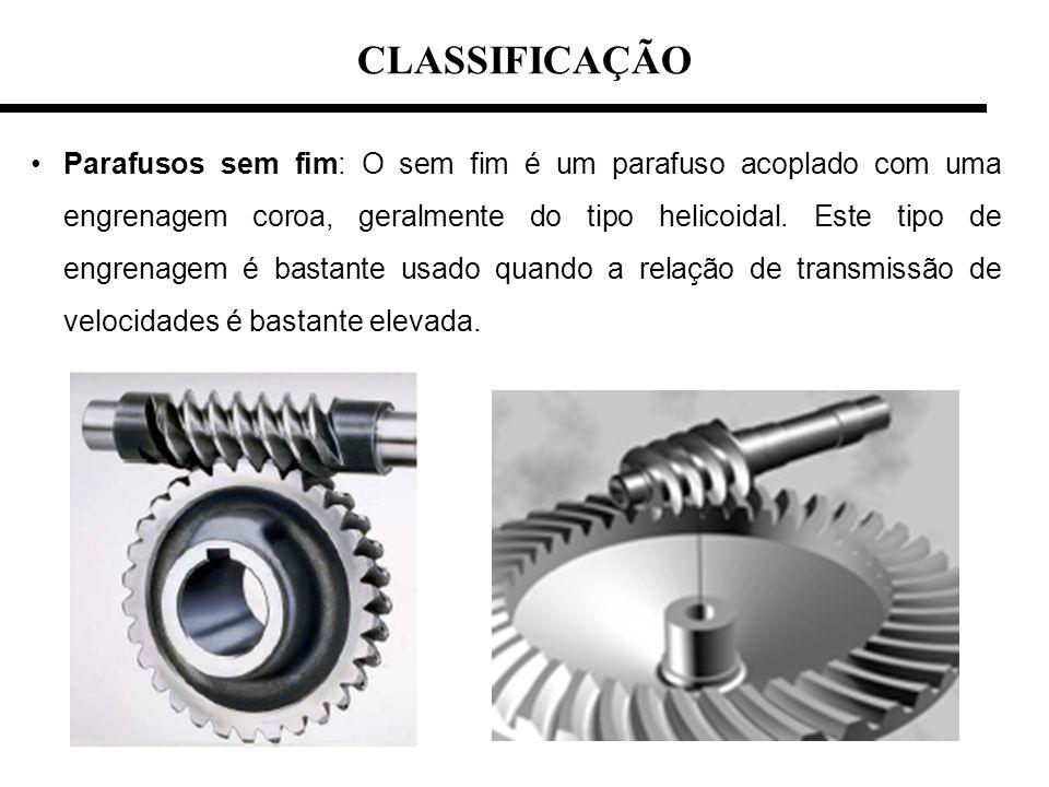 CLASSIFICAÇÃO Parafusos sem fim: O sem fim é um parafuso acoplado com uma engrenagem coroa, geralmente do tipo helicoidal. Este tipo de engrenagem é b