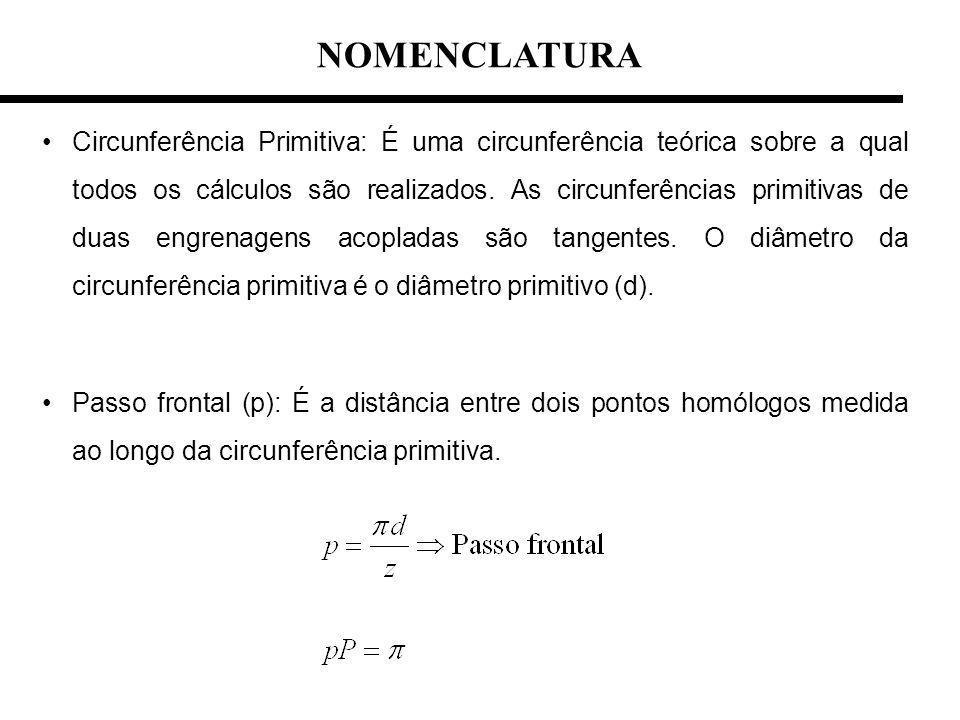 Circunferência Primitiva: É uma circunferência teórica sobre a qual todos os cálculos são realizados. As circunferências primitivas de duas engrenagen