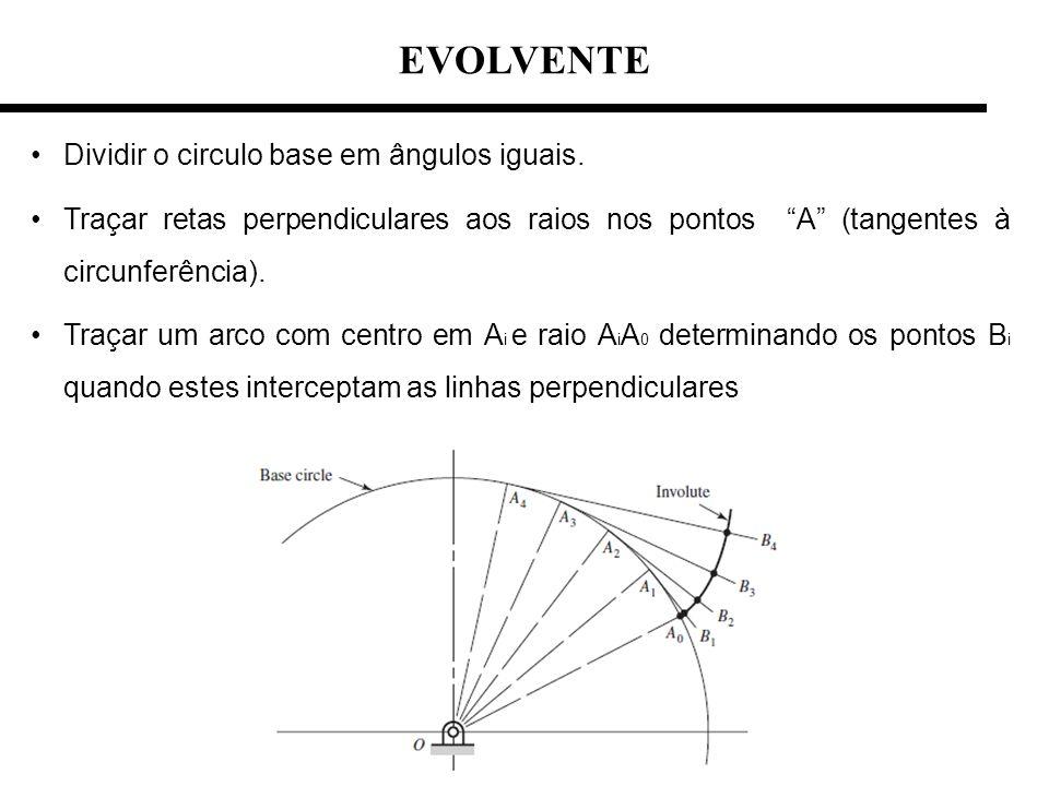 Dividir o circulo base em ângulos iguais. Traçar retas perpendiculares aos raios nos pontos A (tangentes à circunferência). Traçar um arco com centro
