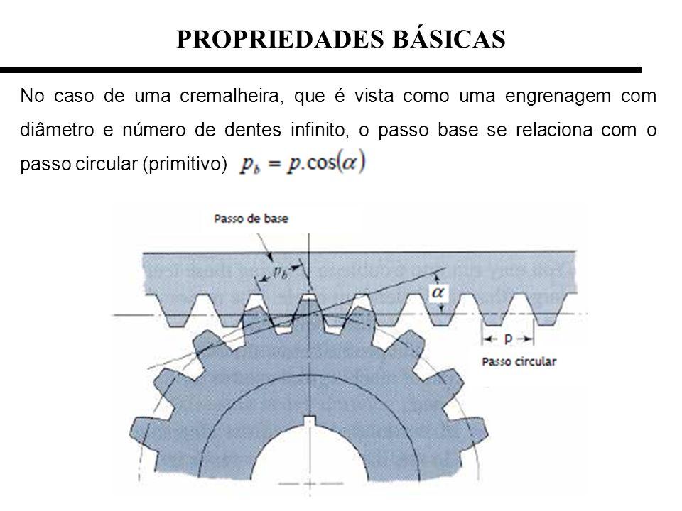 No caso de uma cremalheira, que é vista como uma engrenagem com diâmetro e número de dentes infinito, o passo base se relaciona com o passo circular (
