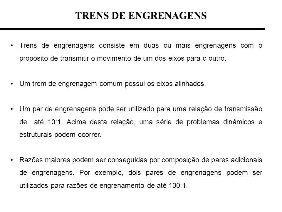 TRENS DE ENGRENAGENS Trens de engrenagens consiste em duas ou mais engrenagens com o propósito de transmitir o movimento de um dos eixos para o outro.