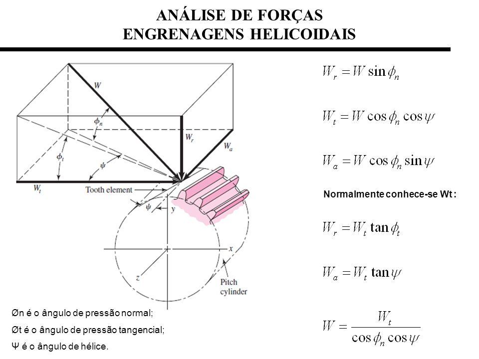 ANÁLISE DE FORÇAS ENGRENAGENS HELICOIDAIS Øn é o ângulo de pressão normal; Øt é o ângulo de pressão tangencial; Ψ é o ângulo de hélice. Normalmente co
