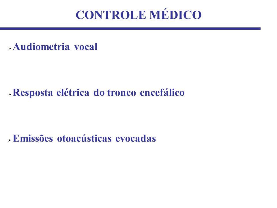 CONTROLE MÉDICO Resposta elétrica do tronco encefálico Emissões otoacústicas evocadas Audiometria vocal