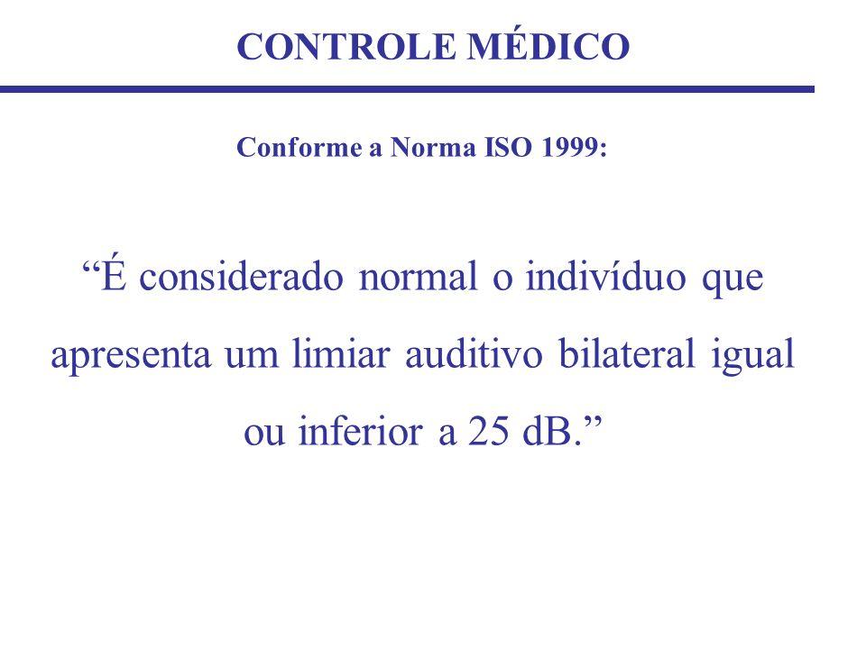 CONTROLE MÉDICO Conforme a Norma ISO 1999: É considerado normal o indivíduo que apresenta um limiar auditivo bilateral igual ou inferior a 25 dB.
