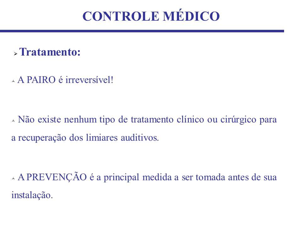 CONTROLE MÉDICO Tratamento: A PAIRO é irreversível! Não existe nenhum tipo de tratamento clínico ou cirúrgico para a recuperação dos limiares auditivo