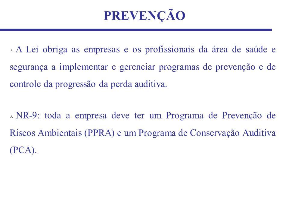 PREVENÇÃO A Lei obriga as empresas e os profissionais da área de saúde e segurança a implementar e gerenciar programas de prevenção e de controle da p