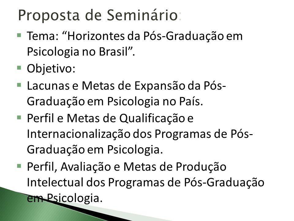 Proposta de Seminário: Tema: Horizontes da Pós-Graduação em Psicologia no Brasil. Objetivo: Lacunas e Metas de Expansão da Pós- Graduação em Psicologi