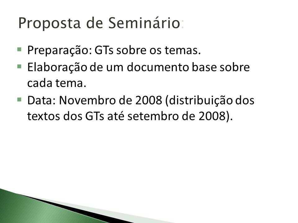 Proposta de Seminário: Preparação: GTs sobre os temas. Elaboração de um documento base sobre cada tema. Data: Novembro de 2008 (distribuição dos texto