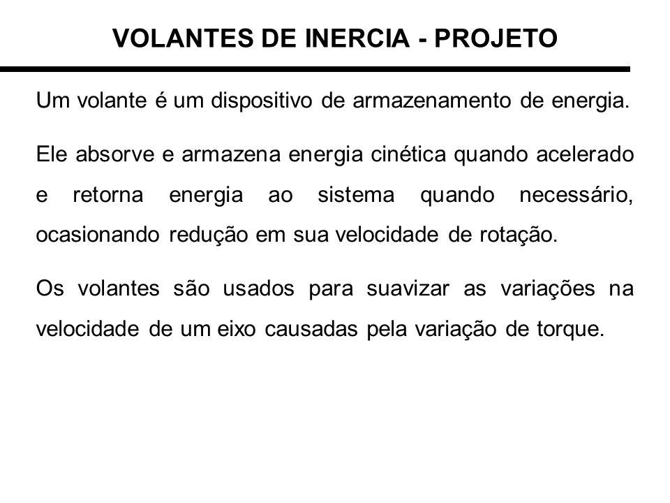 VOLANTES DE INERCIA - PROJETO São aplicados a máquinas como compressores, motores de combustão, prensas, punções, esmagadores, etc.