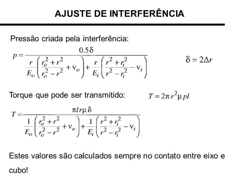 Pressão criada pela interferência: Torque que pode ser transmitido: AJUSTE DE INTERFERÊNCIA Estes valores são calculados sempre no contato entre eixo