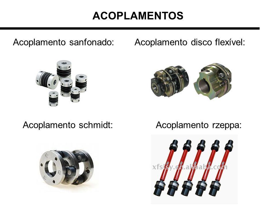 ACOPLAMENTOS Acoplamento sanfonado: Acoplamento disco flexível: Acoplamento schmidt: Acoplamento rzeppa:
