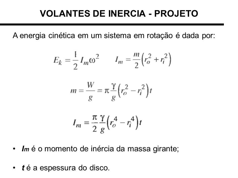 A energia cinética em um sistema em rotação é dada por: I m é o momento de inércia da massa girante; t é a espessura do disco. VOLANTES DE INERCIA - P