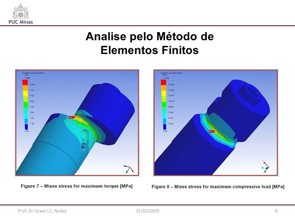 Prof. Dr. Israel J.C. Nuñez31/03/20099 Analise pelo Método de Elementos Finitos