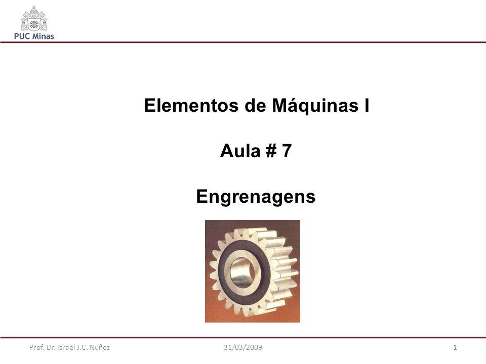 Prof. Dr. Israel J.C. Nuñez31/03/20092 Engrenagens Cilíndricas de Dentes Retos