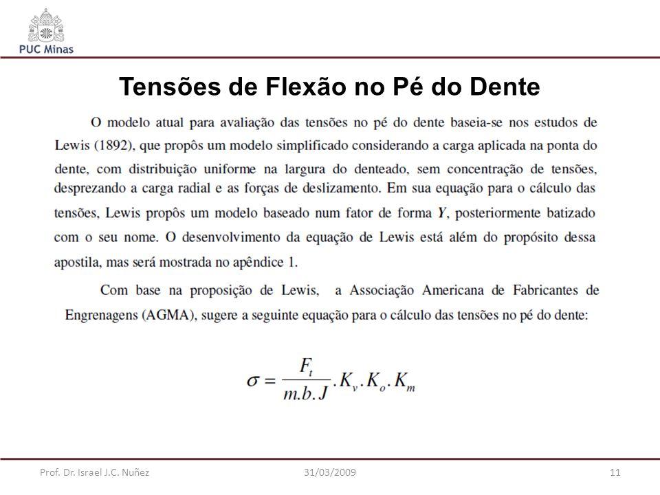 Prof. Dr. Israel J.C. Nuñez31/03/200911 Tensões de Flexão no Pé do Dente