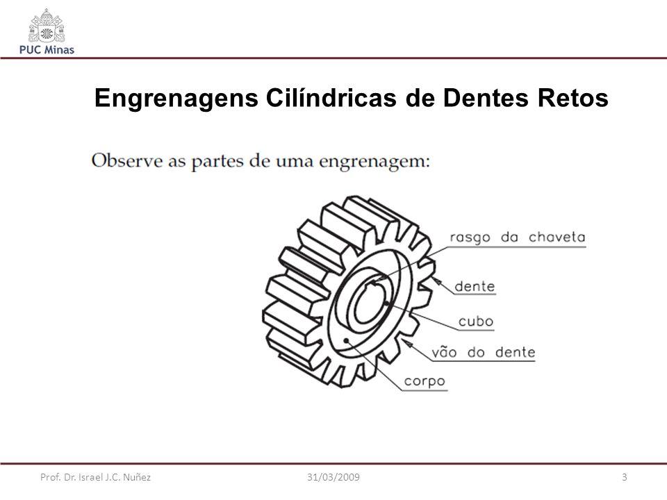 Prof. Dr. Israel J.C. Nuñez31/03/20093 Engrenagens Cilíndricas de Dentes Retos