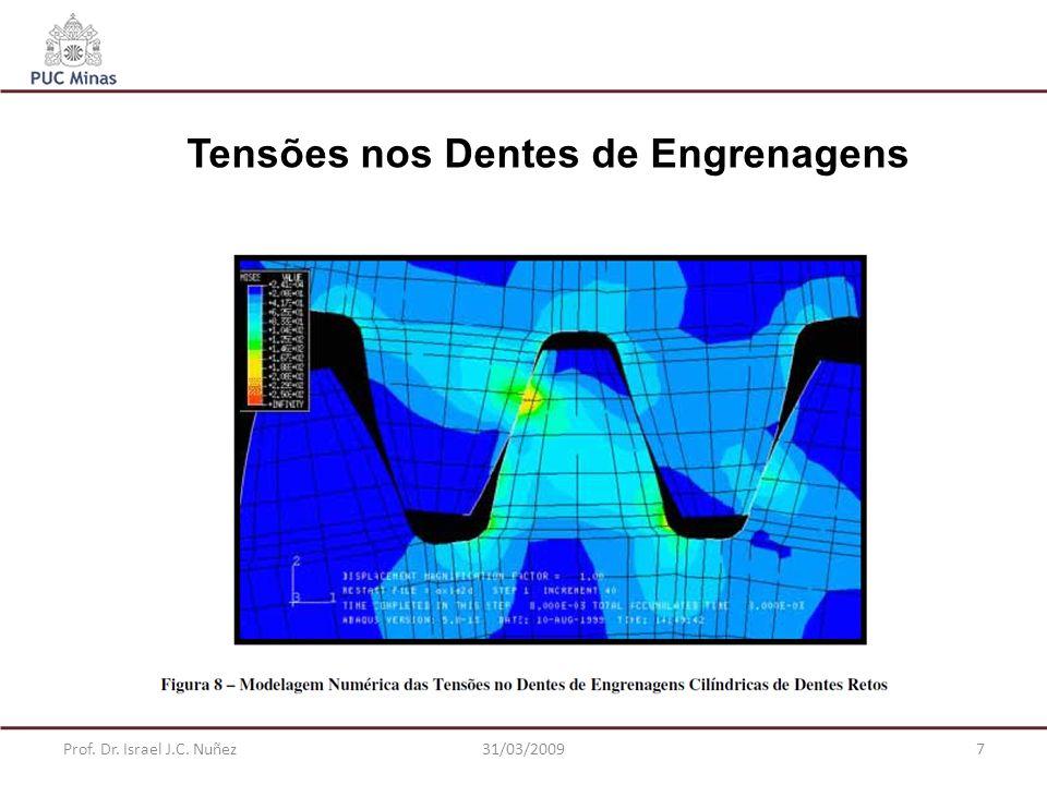 Prof. Dr. Israel J.C. Nuñez31/03/20097 Tensões nos Dentes de Engrenagens