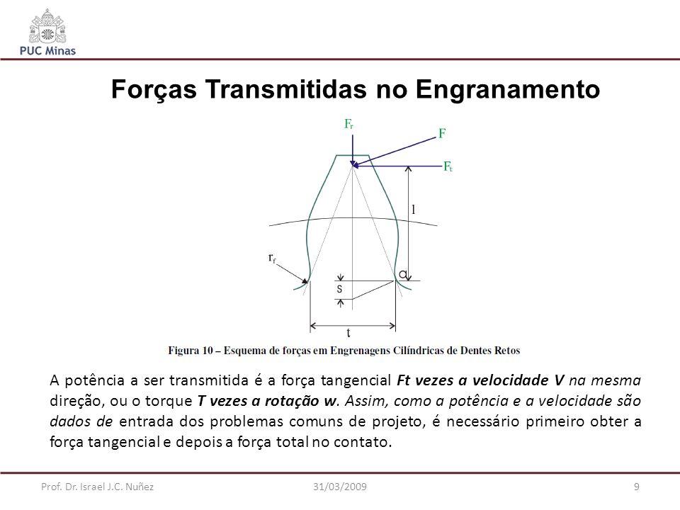 Prof. Dr. Israel J.C. Nuñez31/03/20099 Forças Transmitidas no Engranamento A potência a ser transmitida é a força tangencial Ft vezes a velocidade V n