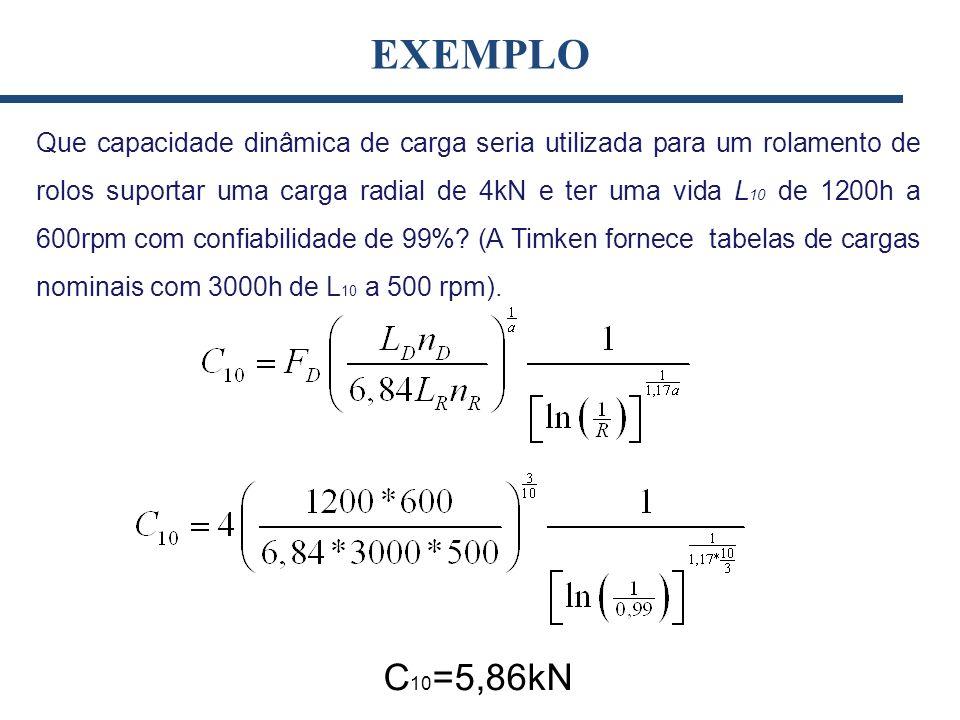 EXEMPLO Que capacidade dinâmica de carga seria utilizada para um rolamento de rolos suportar uma carga radial de 4kN e ter uma vida L 10 de 1200h a 60
