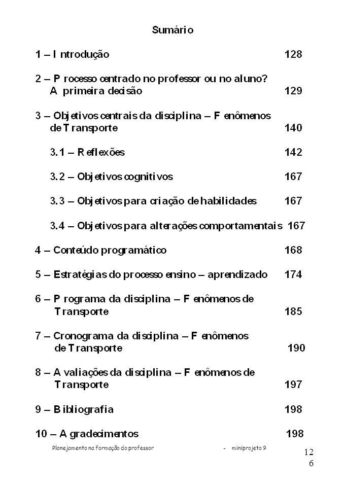Planejamento na formação do professor - miniprojeto 9 126