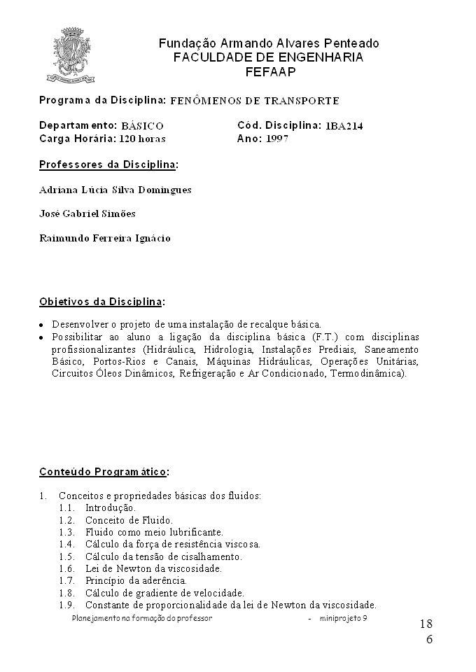 Planejamento na formação do professor - miniprojeto 9 186
