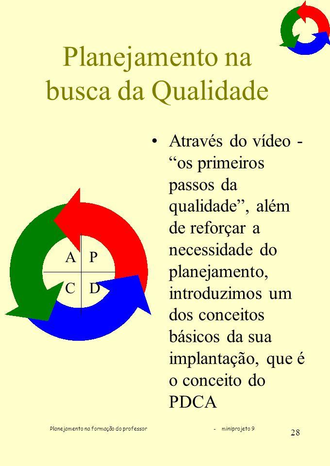 Planejamento na formação do professor - miniprojeto 9 28 Planejamento na busca da Qualidade Através do vídeo - os primeiros passos da qualidade, além