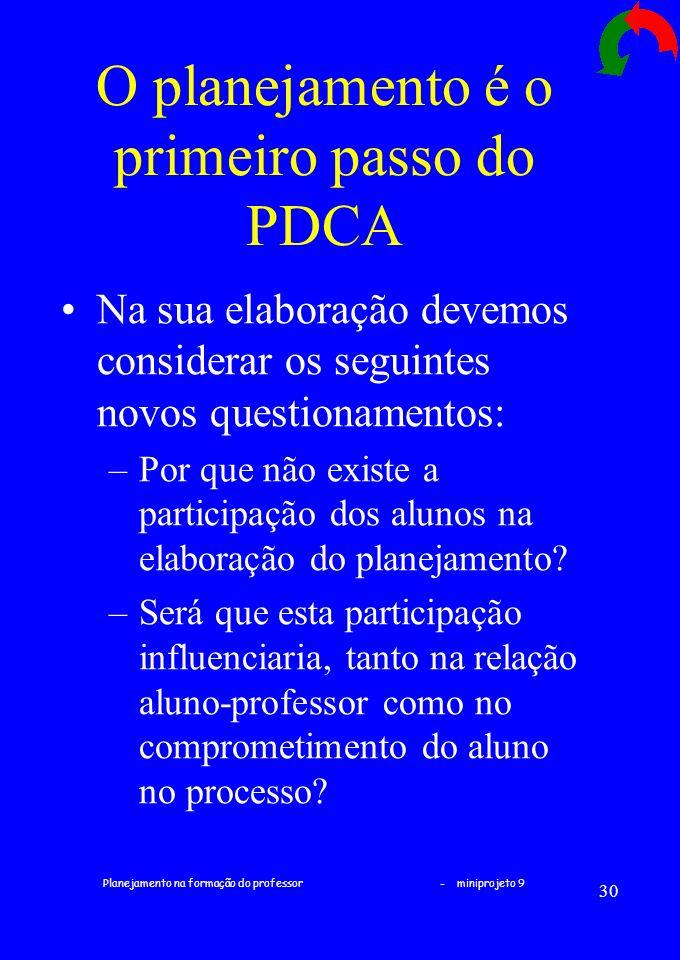 Planejamento na formação do professor - miniprojeto 9 30 O planejamento é o primeiro passo do PDCA Na sua elaboração devemos considerar os seguintes n