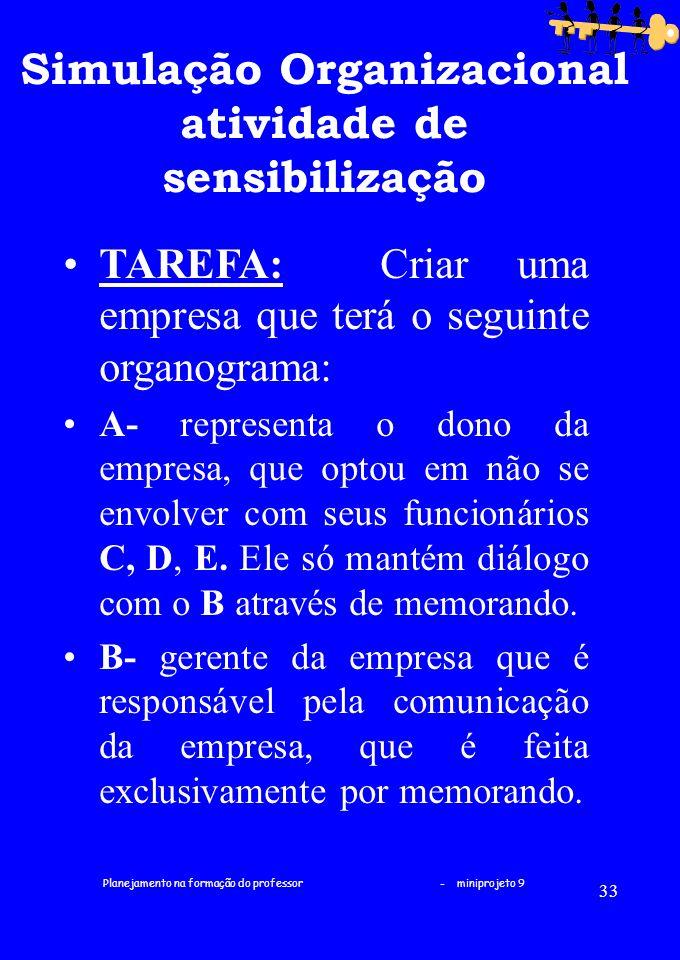 Planejamento na formação do professor - miniprojeto 9 33 Simulação Organizacional atividade de sensibilização TAREFA: Criar uma empresa que terá o seg