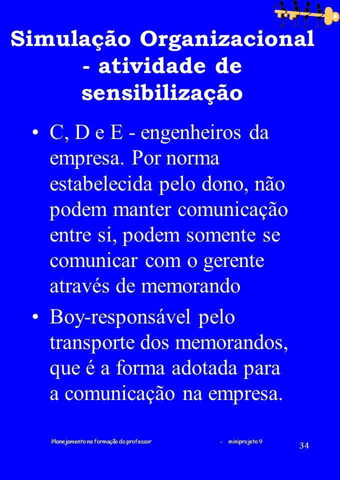 Planejamento na formação do professor - miniprojeto 9 34 Simulação Organizacional - atividade de sensibilização C, D e E - engenheiros da empresa. Por