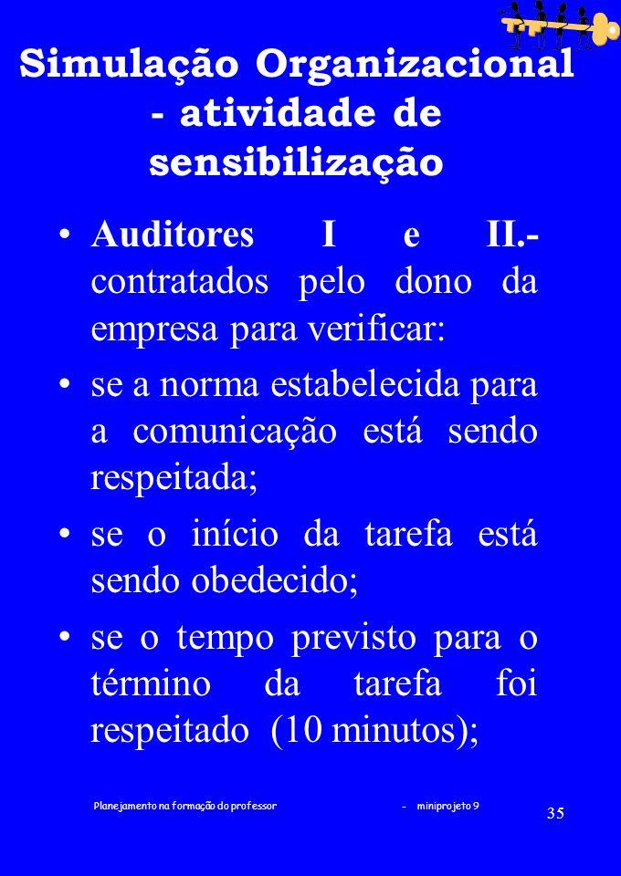 Planejamento na formação do professor - miniprojeto 9 35 Simulação Organizacional - atividade de sensibilização Auditores I e II.- contratados pelo do