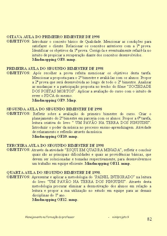 Planejamento na formação do professor - miniprojeto 9 82