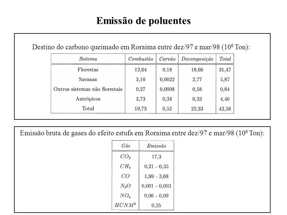 Emissão de poluentes Destino do carbono queimado em Roraima entre dez/97 e mar/98 (10 6 Ton): Emissão bruta de gases do efeito estufa em Roraima entre dez/97 e mar/98 (10 6 Ton):