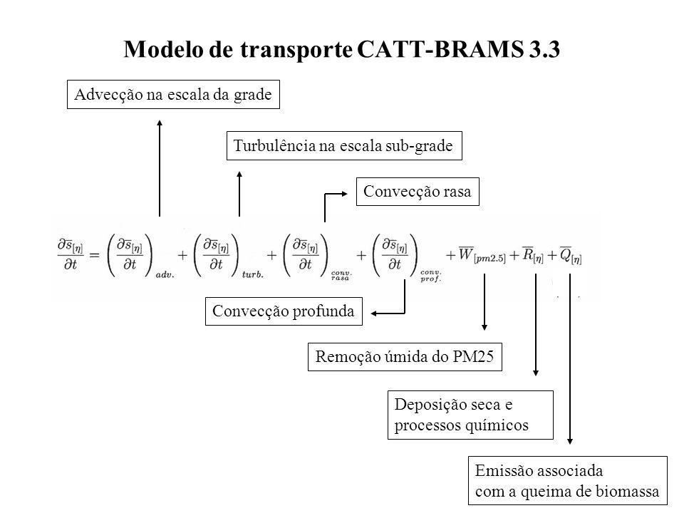 Modelo de transporte CATT-BRAMS 3.3 Advecção na escala da grade Convecção rasa Turbulência na escala sub-grade Convecção profunda Remoção úmida do PM25 Deposição seca e processos químicos Emissão associada com a queima de biomassa