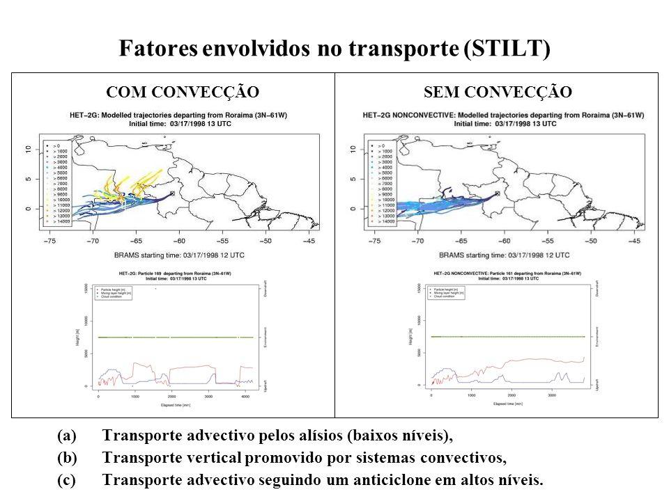 Fatores envolvidos no transporte (STILT) (a)Transporte advectivo pelos alísios (baixos níveis), (b)Transporte vertical promovido por sistemas convectivos, (c)Transporte advectivo seguindo um anticiclone em altos níveis.
