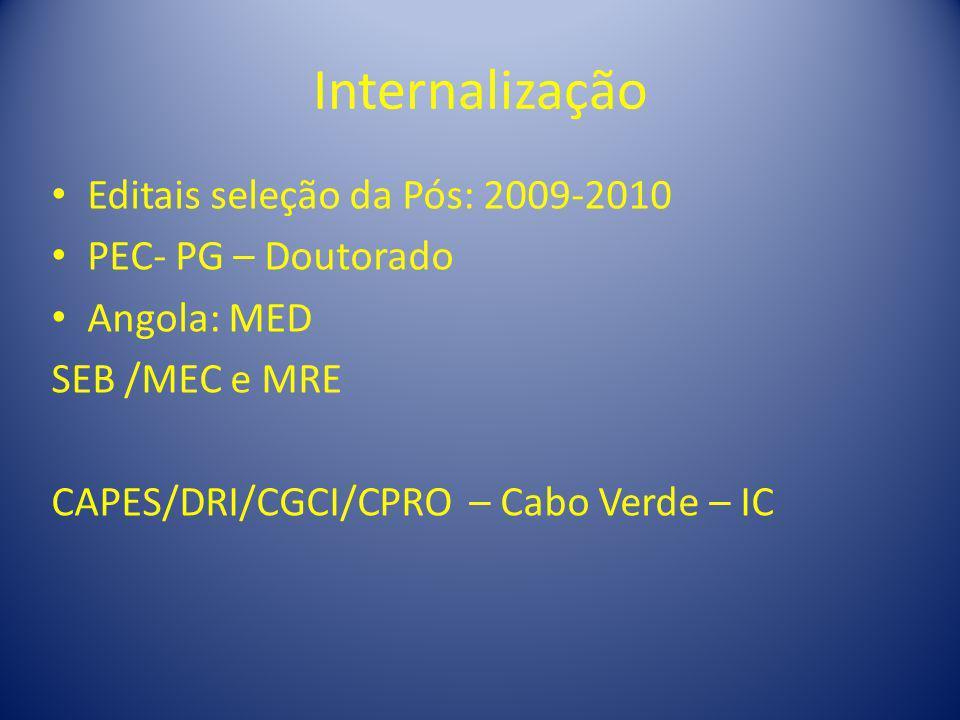 Internalização Editais seleção da Pós: 2009-2010 PEC- PG – Doutorado Angola: MED SEB /MEC e MRE CAPES/DRI/CGCI/CPRO – Cabo Verde – IC