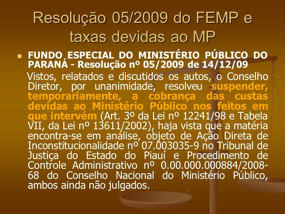 Resolução 05/2009 do FEMP e taxas devidas ao MP FUNDO ESPECIAL DO MINISTÉRIO PÚBLICO DO PARANÁ - Resolução nº 05/2009 de 14/12/09 Vistos, relatados e