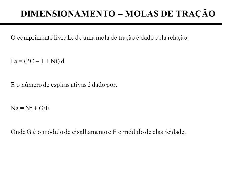 DIMENSIONAMENTO – MOLAS DE TRAÇÃO O comprimento livre L 0 de uma mola de tração é dado pela relação: L 0 = (2C – 1 + Nt) d E o número de espiras ativa