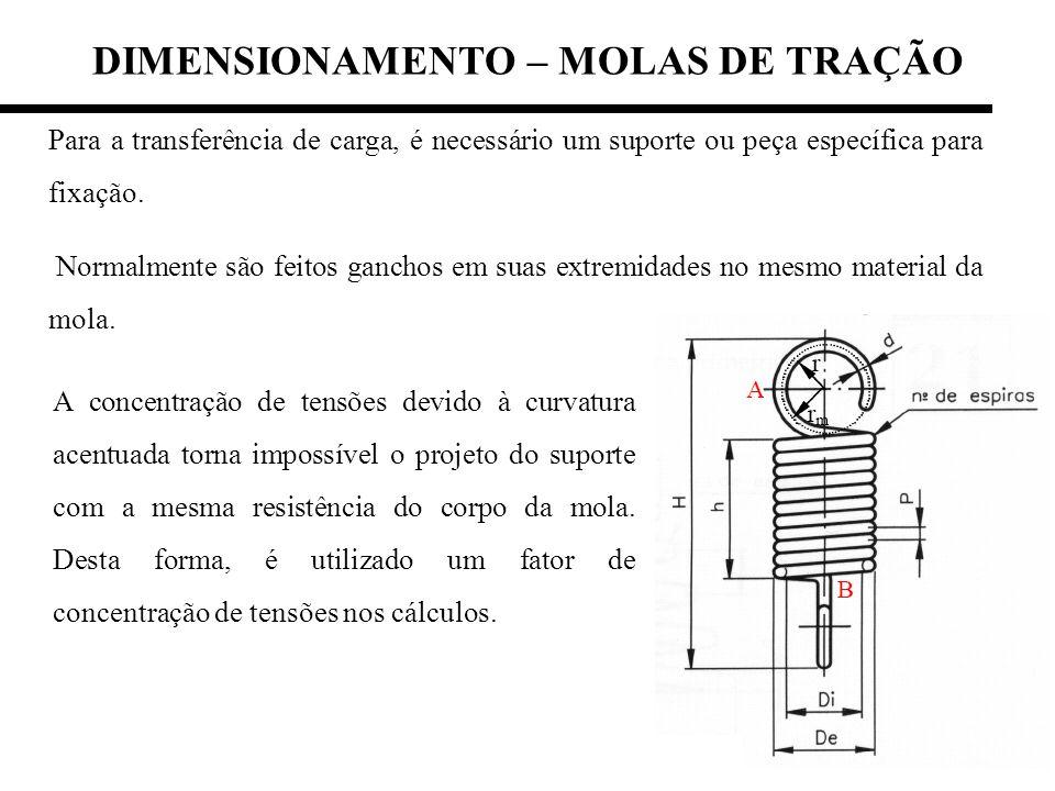 DIMENSIONAMENTO – MOLAS DE TRAÇÃO Para a transferência de carga, é necessário um suporte ou peça específica para fixação. Normalmente são feitos ganch