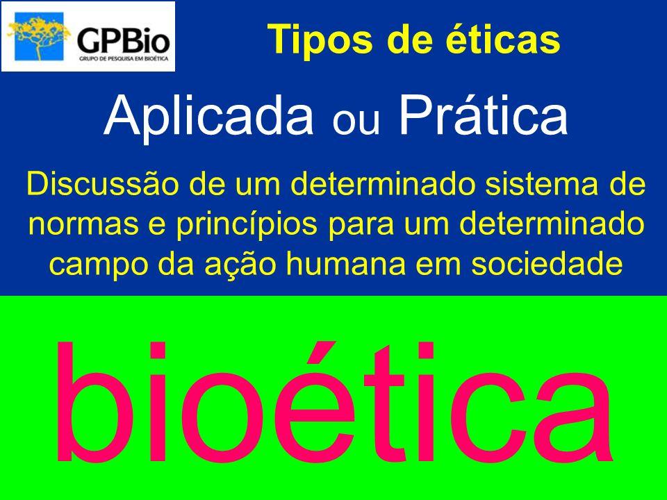 Tipos de éticas Aplicada ou Prática Discussão de um determinado sistema de normas e princípios para um determinado campo da ação humana em sociedade a