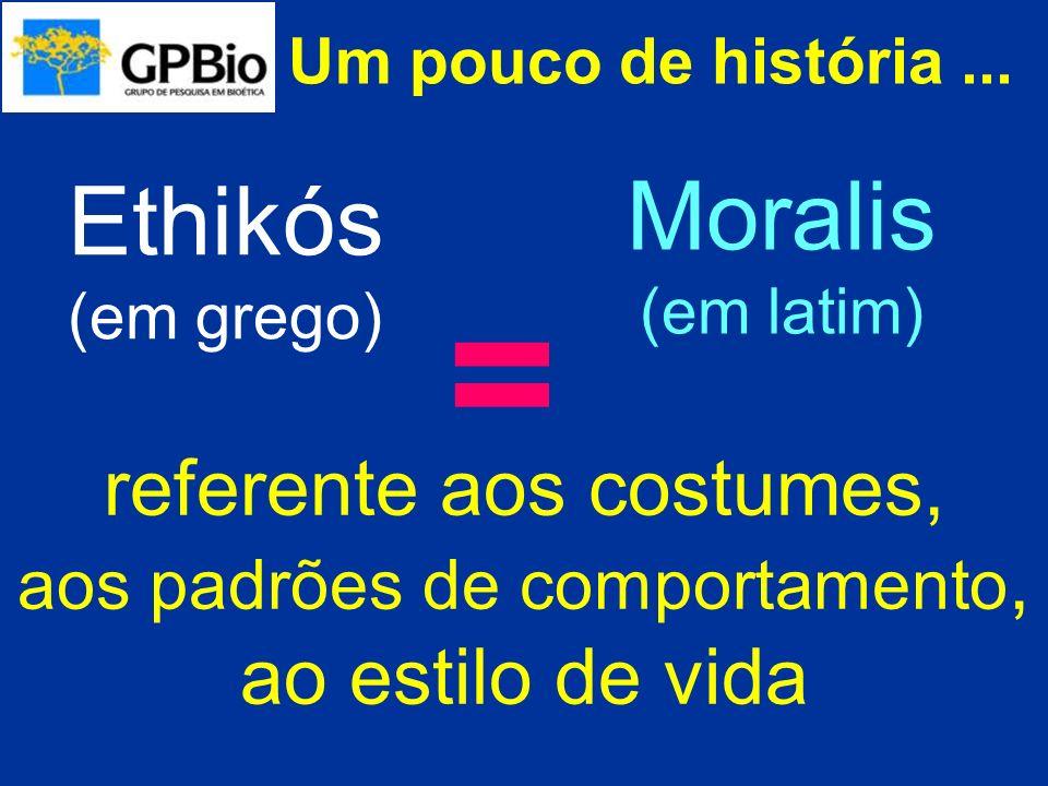 Um pouco de história... referente aos costumes, aos padrões de comportamento, ao estilo de vida Ethikós (em grego) Moralis (em latim) =