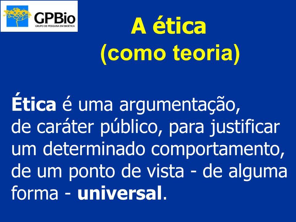 A ética Ética é uma argumentação, de caráter público, para justificar um determinado comportamento, de um ponto de vista - de alguma forma - universal