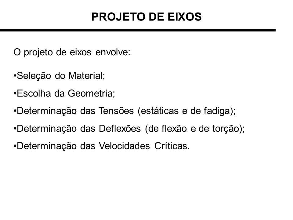 PROJETO DE EIXOS O projeto de eixos envolve: Seleção do Material; Escolha da Geometria; Determinação das Tensões (estáticas e de fadiga); Determinação