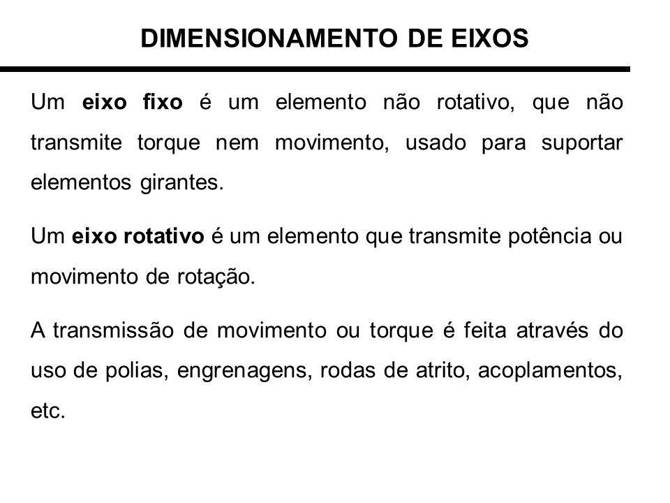 Um eixo fixo é um elemento não rotativo, que não transmite torque nem movimento, usado para suportar elementos girantes. Um eixo rotativo é um element