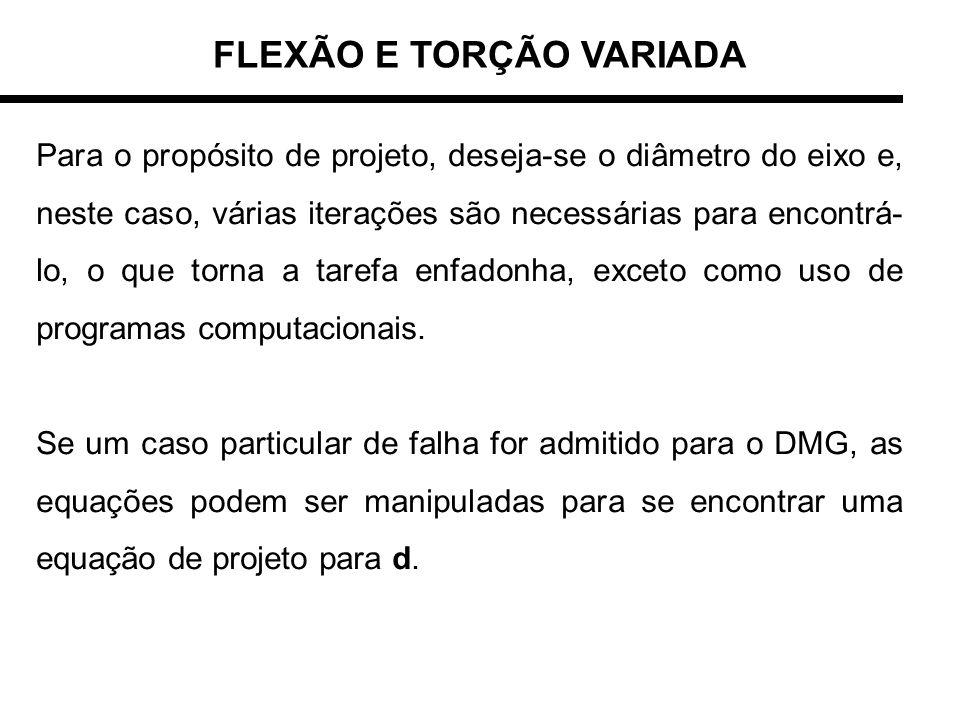 FLEXÃO E TORÇÃO VARIADA Para o propósito de projeto, deseja-se o diâmetro do eixo e, neste caso, várias iterações são necessárias para encontrá- lo, o