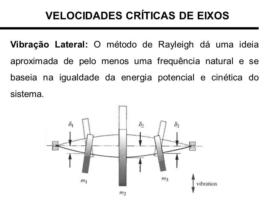 VELOCIDADES CRÍTICAS DE EIXOS Vibração Lateral: O método de Rayleigh dá uma ideia aproximada de pelo menos uma frequência natural e se baseia na igual