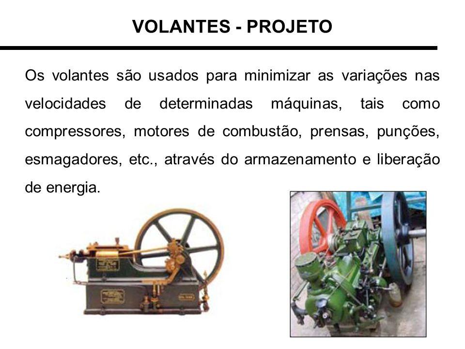VOLANTES - PROJETO Os volantes são usados para minimizar as variações nas velocidades de determinadas máquinas, tais como compressores, motores de com